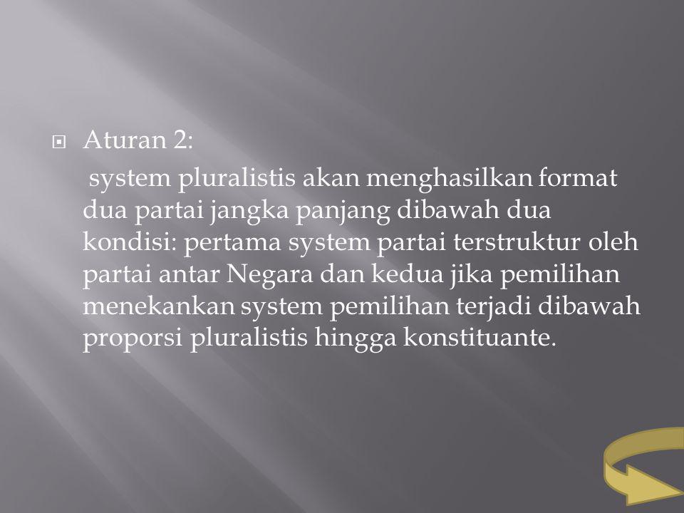  Aturan 2: system pluralistis akan menghasilkan format dua partai jangka panjang dibawah dua kondisi: pertama system partai terstruktur oleh partai a