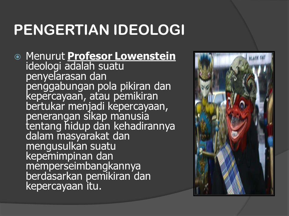 PENGERTIAN IDEOLOGI  Menurut Profesor Lowenstein ideologi adalah suatu penyelarasan dan penggabungan pola pikiran dan kepercayaan, atau pemikiran bertukar menjadi kepercayaan, penerangan sikap manusia tentang hidup dan kehadirannya dalam masyarakat dan mengusulkan suatu kepemimpinan dan memperseimbangkannya berdasarkan pemikiran dan kepercayaan itu.