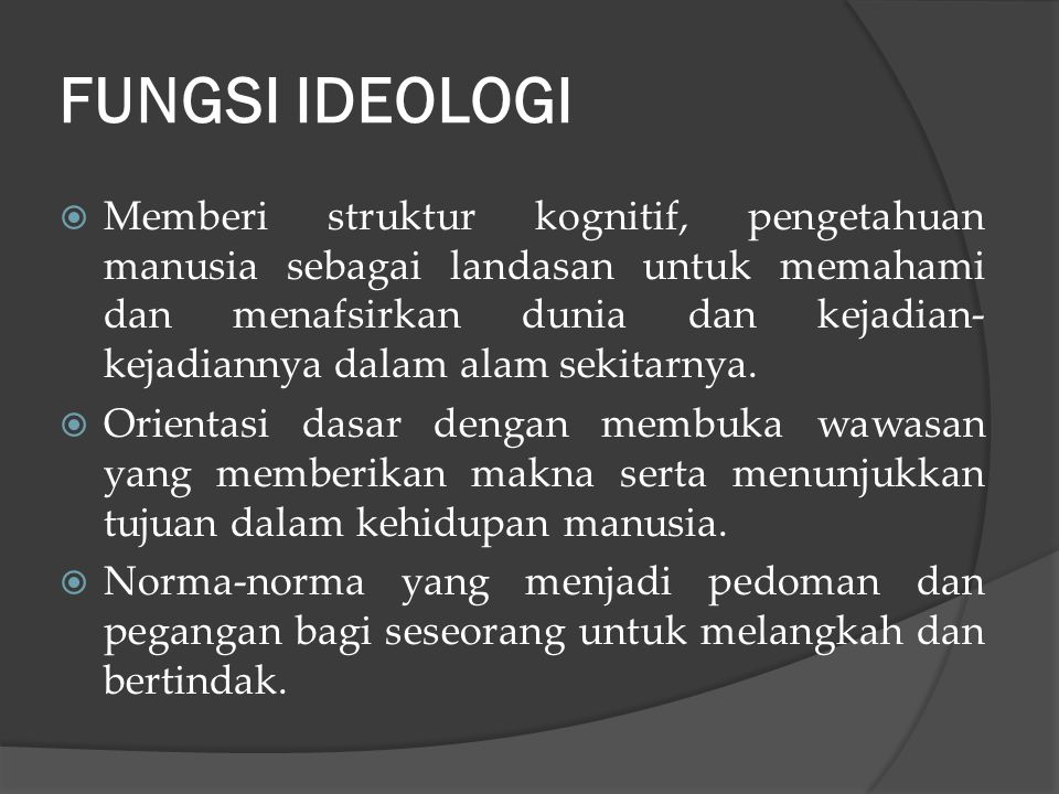 Ideologi merupakan gambaran dari : 1.Sejauh mana masyarakat berhasil memahami dirinya sendiri. 2.Lukisan tentang kemampuannya memberikan harapan kepad