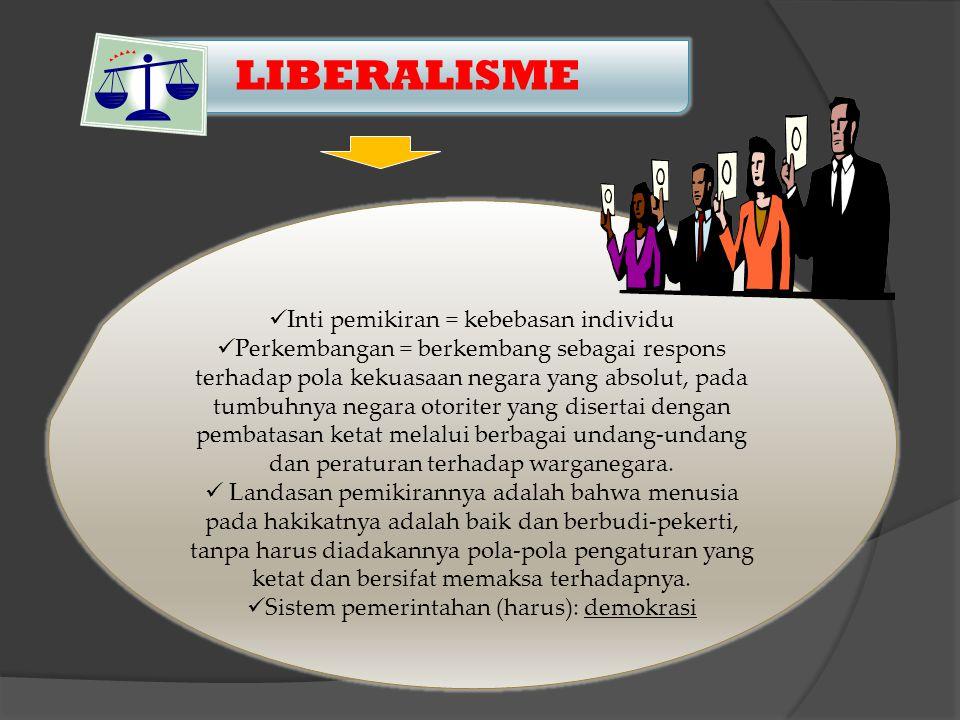 LIBERALISME Inti pemikiran = kebebasan individu Perkembangan = berkembang sebagai respons terhadap pola kekuasaan negara yang absolut, pada tumbuhnya negara otoriter yang disertai dengan pembatasan ketat melalui berbagai undang-undang dan peraturan terhadap warganegara.