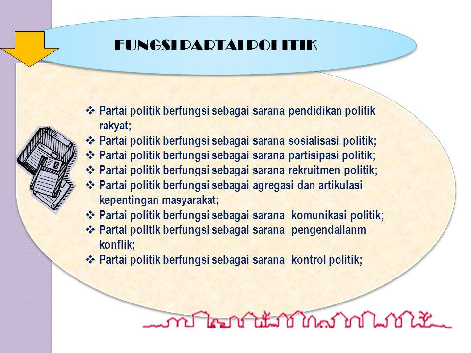 TUJUAN PARTAI POLITIK TUJUAN PARTAI POLITIK TUJUAN UMUM = (a) mewujudkan cita-cita nasional bangsa Indonesia sebagaimana dimaksud dalam Pemvbukaan UUD