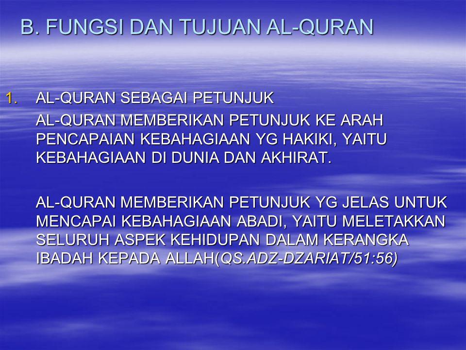 2.AL-QURAN SEBAGAI SUMBER POKOK AJARAN ISLAM AL-QURAN ADALAH ASAL DARI MANA AJARAN ISLAM ITU DIJA-BARKAN DAN DIKEMBANGKAN.