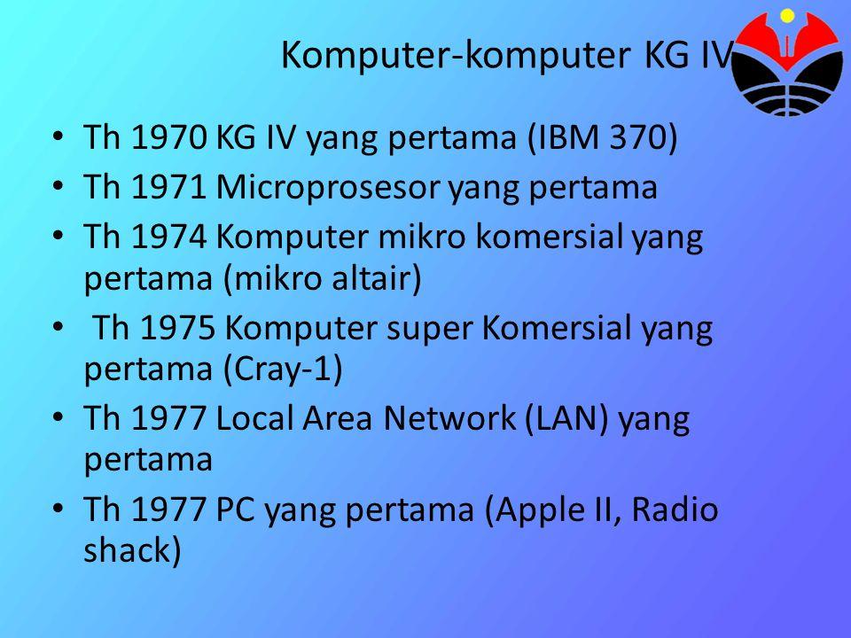 Th 1981 komputer sistem windows dan menggunakan mouse pertama (Xerox Corporation) Th 1981 Komputer IBM PC yang pertama menggunakan mikroprosesor buatan intel 8088 Th 1984 IBM PC/AT Th 1984 Machintosh dan GUI pertama sangat terkenal karena user friendly Th 1987 IBM PS/2 Th 1988 IBM PC/386 Komputer 32 Bit yang pertama Th 1990 IBM PC/486