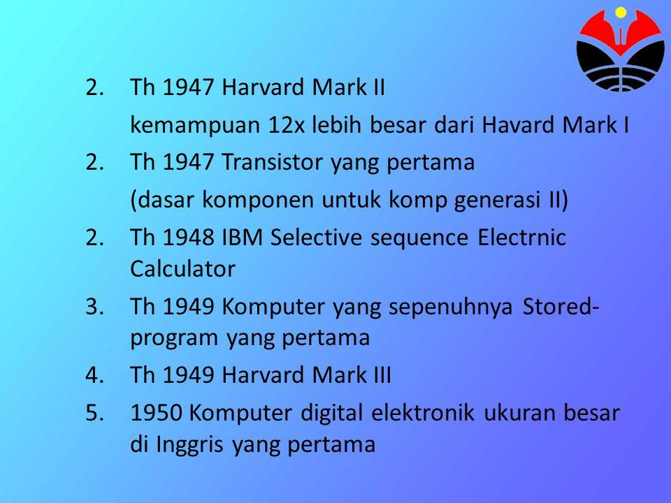 6.Th 1950 SEC 7.Th 1951 Komputer komersial di inggris yang pertama 8.Th 1951 Komputer yang menggunakan pita magnetik yang pertama 9.Th 1952 komputer yang sepenuhnya stored-program di amerika yang pertama 10.Th 1953 Komputer yang menggunakan core memory yang pertama 11.Th 1953 IBM 701