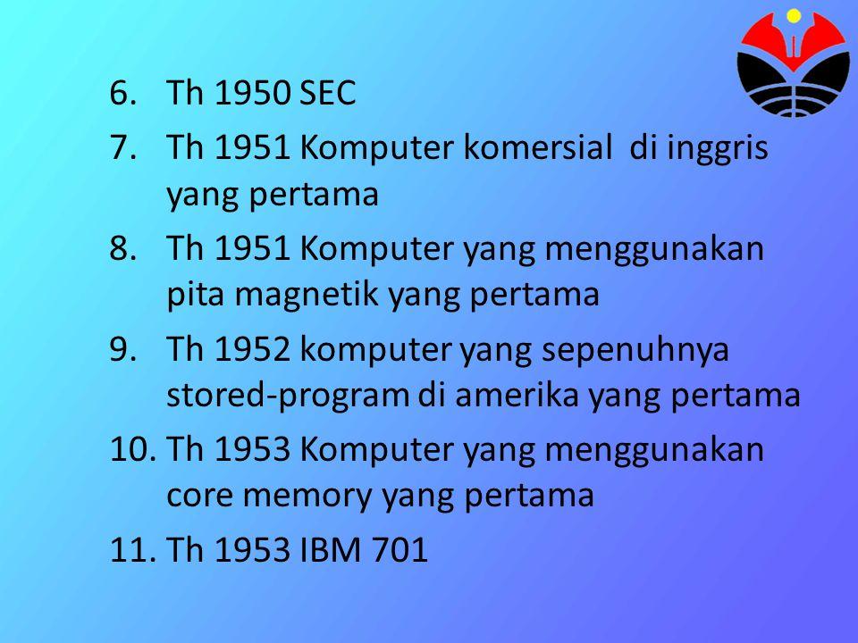 12.Th 1954 Komputer komersial generasi pertama paling populer berorientasi pada aplikasi bisnis 12.Th 1956 komputer yang menggunakan simpanan luar dengan akses secara random yang pertama 13.Th 1959 IBM 705 (dibuat utk mengganti 701)