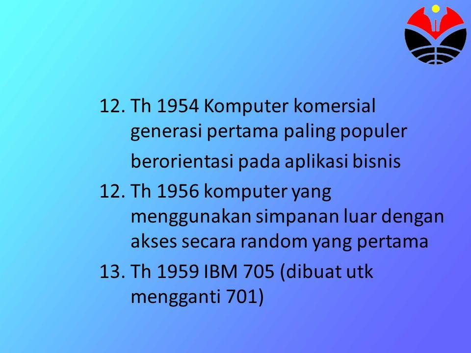 Komputer Generasi Kedua (1959-1964) Ciri-ciri : Komponen yang digunakan adalah transistor untuk sirkuitnya Program dapat dibuat dengan bahasa tingkat tinggi EX: Fortran, Cobol Kapasitor memori utama sudah cukup besar