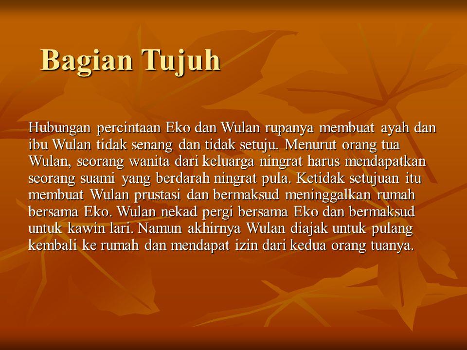 Bagian Tujuh Hubungan percintaan Eko dan Wulan rupanya membuat ayah dan ibu Wulan tidak senang dan tidak setuju. Menurut orang tua Wulan, seorang wani