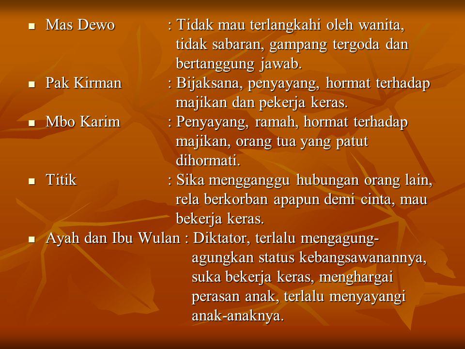 Mas Dewo: Tidak mau terlangkahi oleh wanita, tidak sabaran, gampang tergoda dan bertanggung jawab. Pak Kirman: Bijaksana, penyayang, hormat terhadap m
