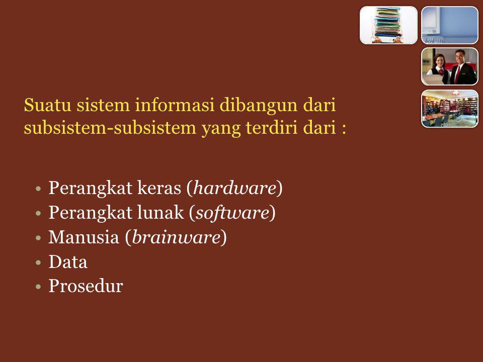 Perangkat keras (hardware) Perangkat lunak (software) Manusia (brainware) Data Prosedur Suatu sistem informasi dibangun dari subsistem-subsistem yang terdiri dari :