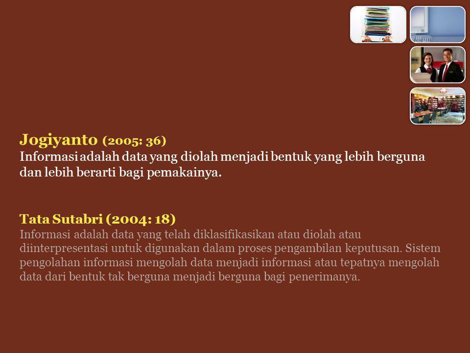 Jogiyanto (2005: 36) Informasi adalah data yang diolah menjadi bentuk yang lebih berguna dan lebih berarti bagi pemakainya.