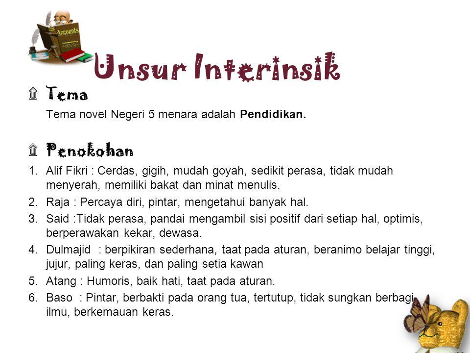 ۩ Alur Alur novel Negeri 5 Menara adalah alur mundur, karena menceritakan masa lalu Alif Fikri sebagai tokoh utama bersama kelima sahabatnya ketika ia menempuh pendidikan di Pondok Madani, sebuah pesantren di Jawa Timur.