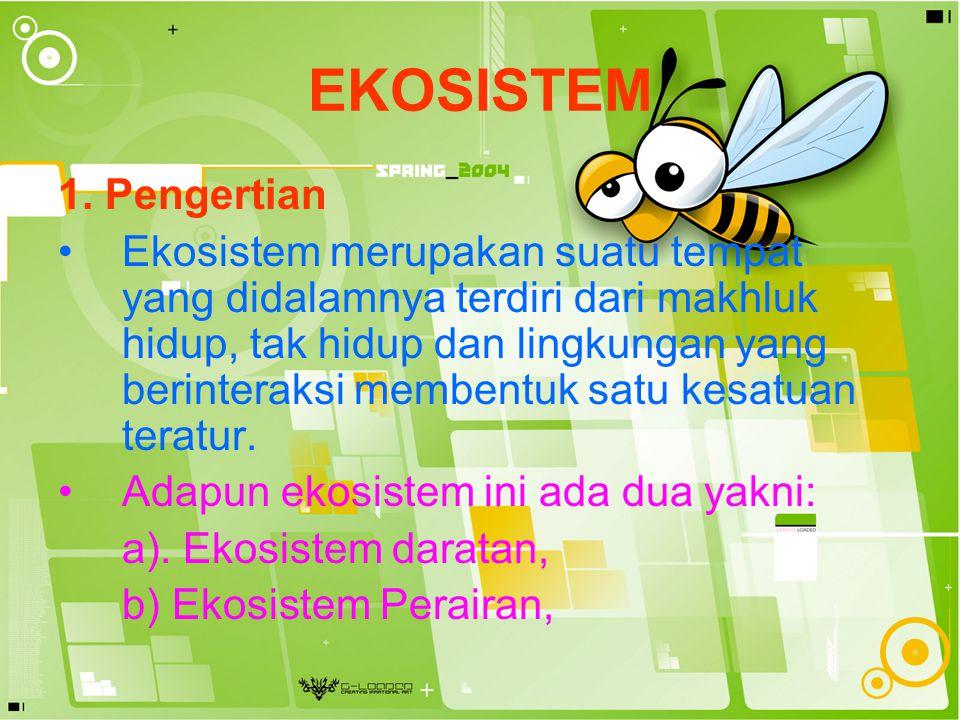 EKOSISTEM 1. Pengertian Ekosistem merupakan suatu tempat yang didalamnya terdiri dari makhluk hidup, tak hidup dan lingkungan yang berinteraksi memben