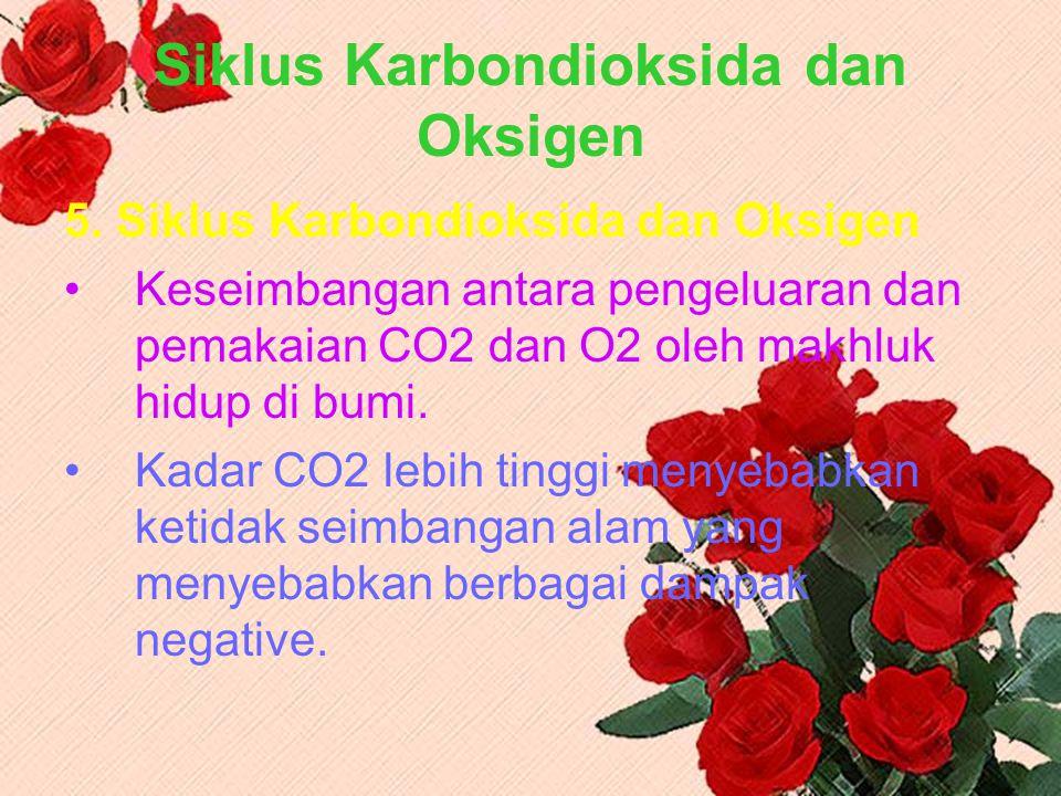 Siklus Karbondioksida dan Oksigen 5. Siklus Karbondioksida dan Oksigen Keseimbangan antara pengeluaran dan pemakaian CO2 dan O2 oleh makhluk hidup di