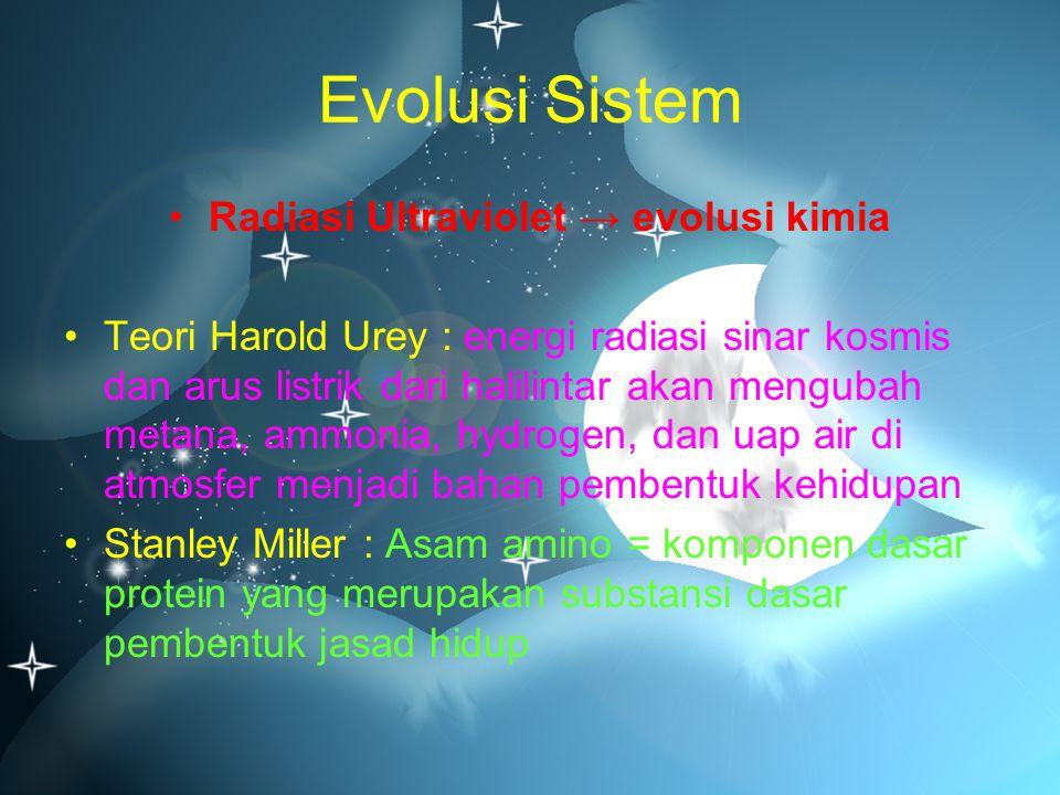 Evolusi Sistem Radiasi Ultraviolet → evolusi kimia Teori Harold Urey : energi radiasi sinar kosmis dan arus listrik dari halilintar akan mengubah meta