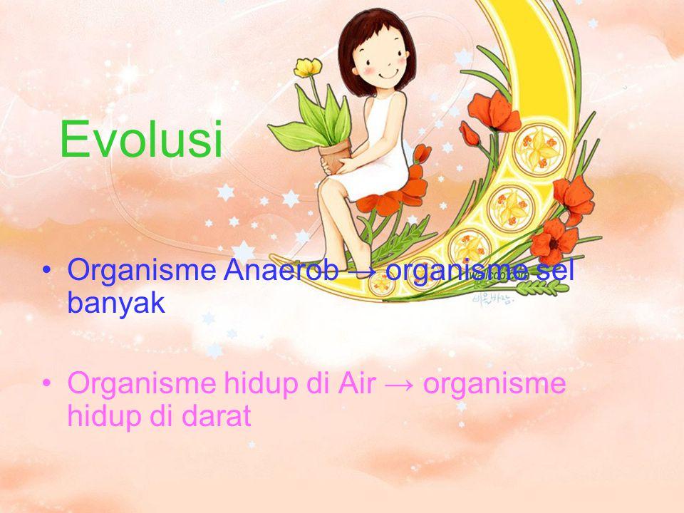 Evolusi Organisme Anaerob → organisme sel banyak Organisme hidup di Air → organisme hidup di darat