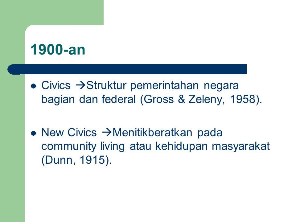1900-an Civics  Struktur pemerintahan negara bagian dan federal (Gross & Zeleny, 1958). New Civics  Menitikberatkan pada community living atau kehid