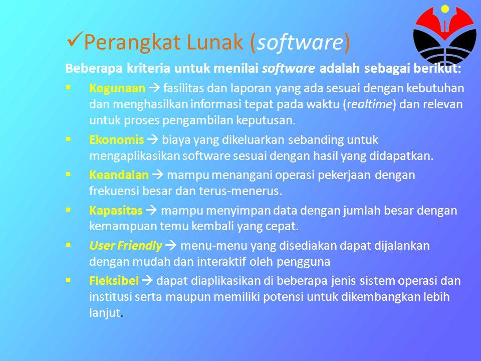 Perangkat Lunak (software) Beberapa kriteria untuk menilai software adalah sebagai berikut:  Kegunaan  fasilitas dan laporan yang ada sesuai dengan