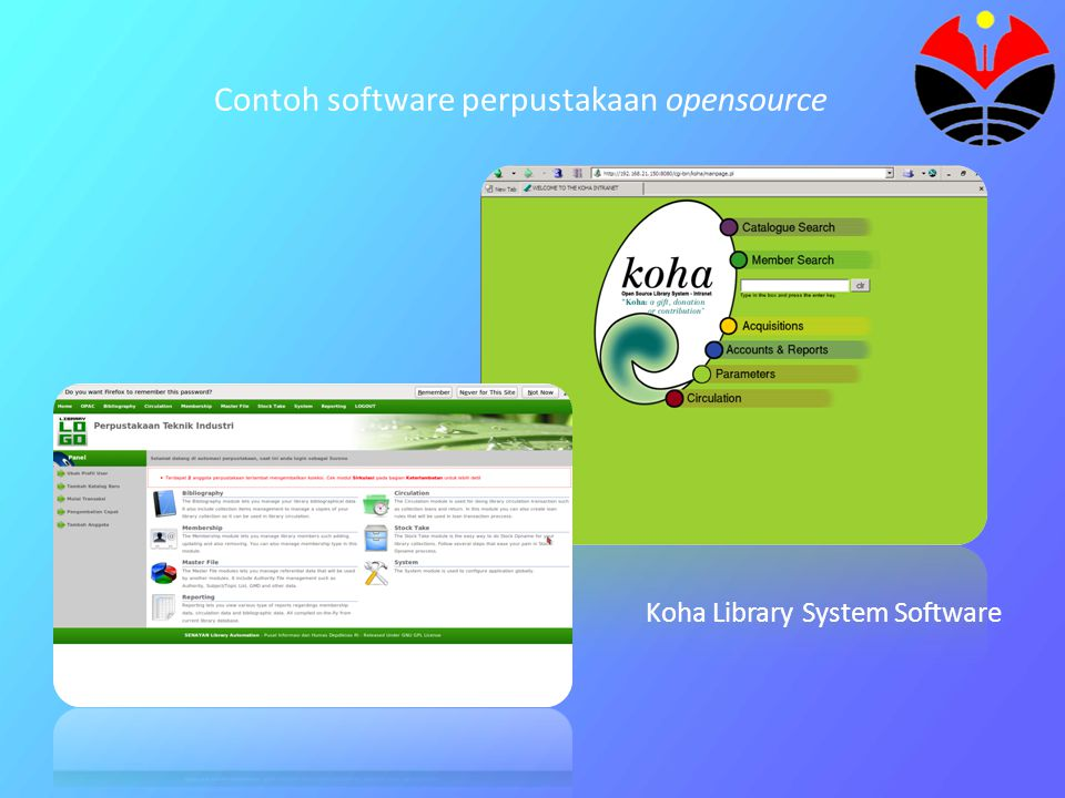 Contoh software perpustakaan opensource Koha Library System Software