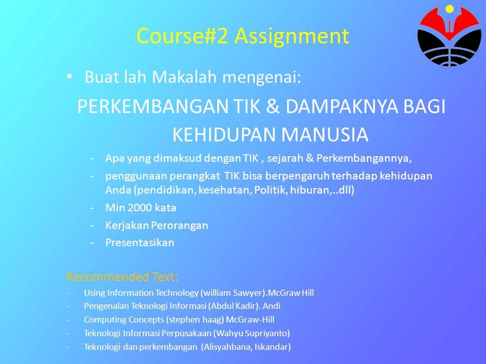 Course#2 Assignment Buat lah Makalah mengenai: PERKEMBANGAN TIK & DAMPAKNYA BAGI KEHIDUPAN MANUSIA -Apa yang dimaksud dengan TIK, sejarah & Perkembang