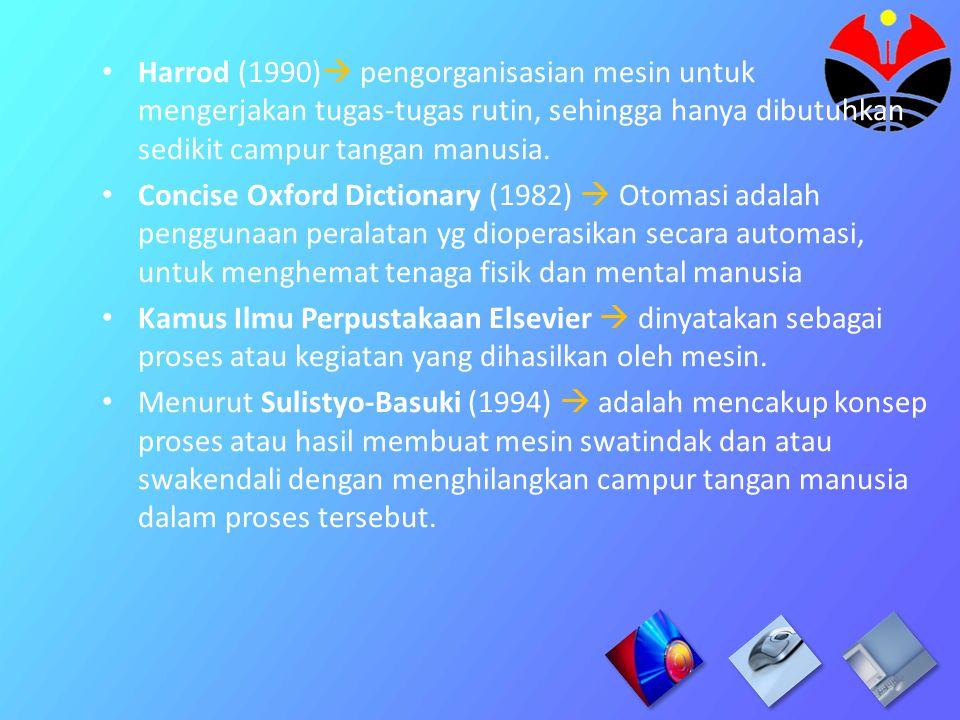 Otomasi Perpustakaan adalah sebuah sebuah proses pengelolaan perpustakaan dengan menggunakan bantuan teknologi informasi dan komunikasi (TIK) Otomasi Perpustakaan adalah sebuah sebuah proses pengelolaan perpustakaan dengan menggunakan bantuan teknologi informasi dan komunikasi (TIK)