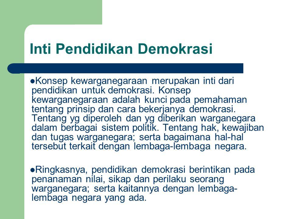 Inti Pendidikan Demokrasi Konsep kewarganegaraan merupakan inti dari pendidikan untuk demokrasi.