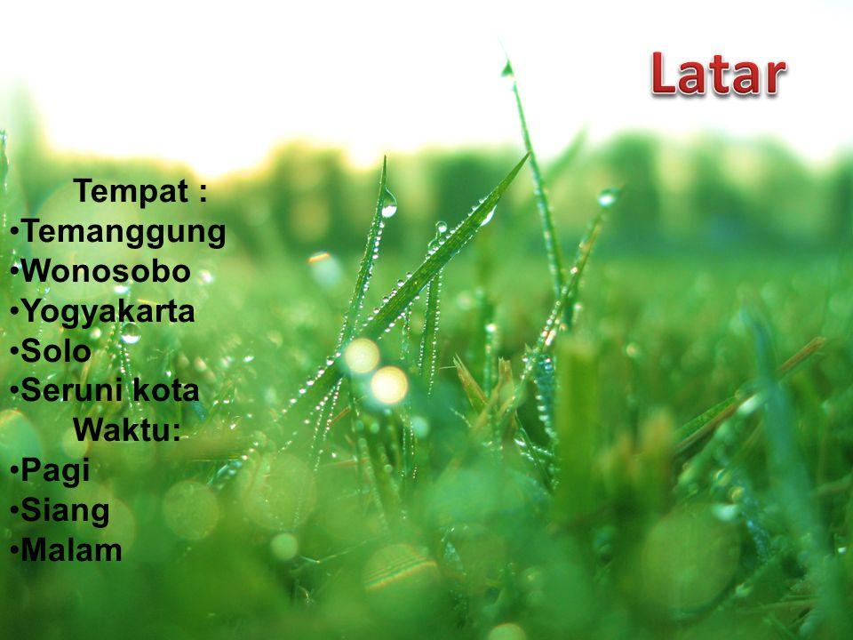 Tempat : Temanggung Wonosobo Yogyakarta Solo Seruni kota Waktu: Pagi Siang Malam