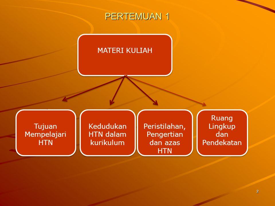 3 Kuliah Pengantar  Tujuan mempelajari HTN bagi mhsjurusan PKN : 1.