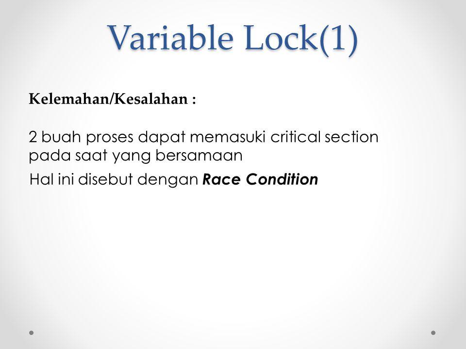 Variable Lock(1) Kelemahan/Kesalahan : 2 buah proses dapat memasuki critical section pada saat yang bersamaan Hal ini disebut dengan Race Condition