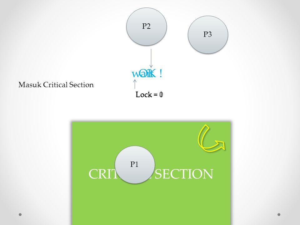 Lock = 0 Lock = 1 Lock = 0 P3 CRITICAL SECTION P1 wait OK ! Masuk Critical Section P2