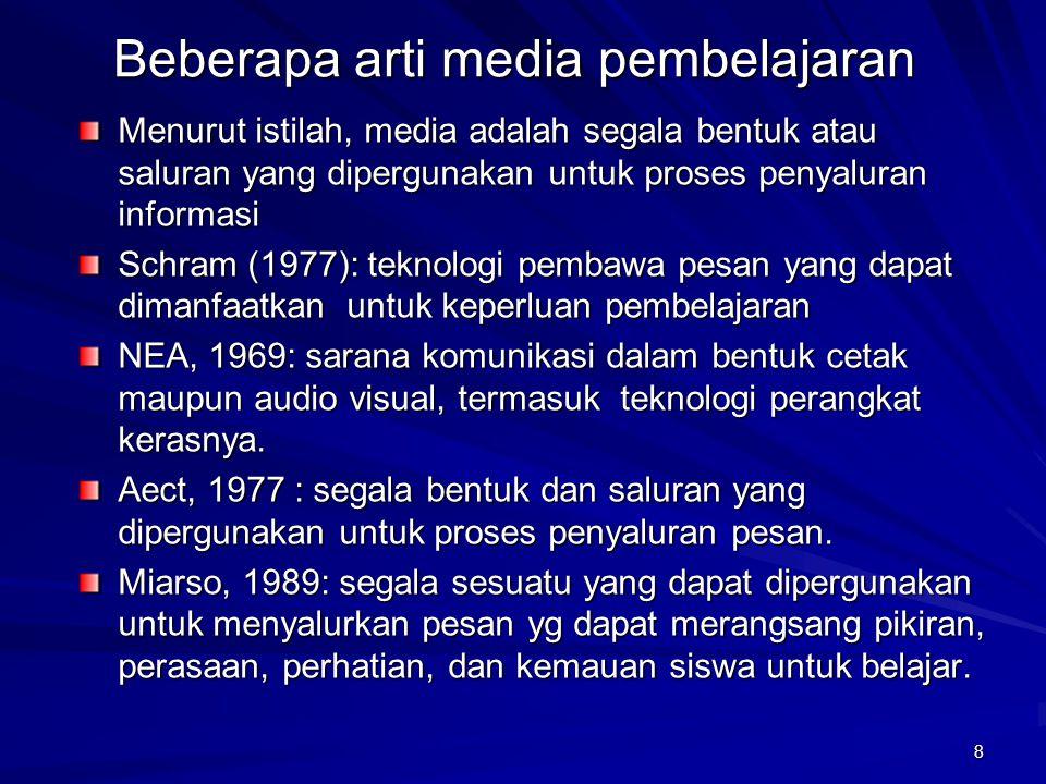 Beberapa arti media pembelajaran Menurut istilah, media adalah segala bentuk atau saluran yang dipergunakan untuk proses penyaluran informasi Schram (1977): teknologi pembawa pesan yang dapat dimanfaatkan untuk keperluan pembelajaran NEA, 1969: sarana komunikasi dalam bentuk cetak maupun audio visual, termasuk teknologi perangkat kerasnya.