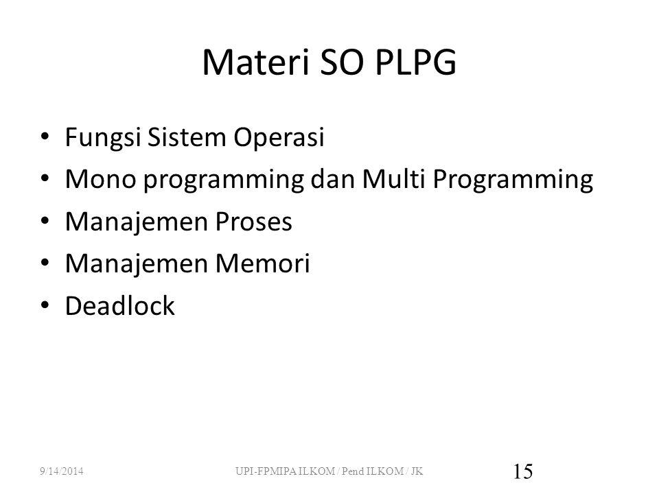Materi SO PLPG Fungsi Sistem Operasi Mono programming dan Multi Programming Manajemen Proses Manajemen Memori Deadlock 9/14/2014UPI-FPMIPA ILKOM / Pend ILKOM / JK 15