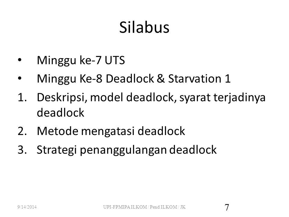 Silabus Minggu ke-7 UTS Minggu Ke-8 Deadlock & Starvation 1 1.Deskripsi, model deadlock, syarat terjadinya deadlock 2.Metode mengatasi deadlock 3.Strategi penanggulangan deadlock 9/14/2014UPI-FPMIPA ILKOM / Pend ILKOM / JK 7