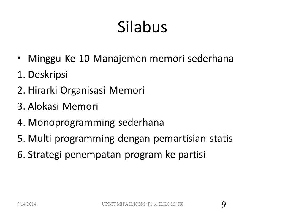 Silabus Minggu ke-11 Manajemen memori dengan swapping 1.Multi programming dengan swapping 2.Pemartisian dinamis 3.Pengelolaan pemakaian memori 4.Alokasi ruang Swap pada Disk 9/14/2014UPI-FPMIPA ILKOM / Pend ILKOM / JK 10