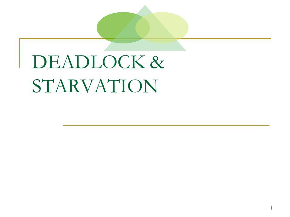 2 Deskripsi Deadlock & Starvation Proses pada sistem multiprogramming dikatakan deadlock jika proses itu menunggu suatu kejadian tertentu yang tak akan pernah terjadi.