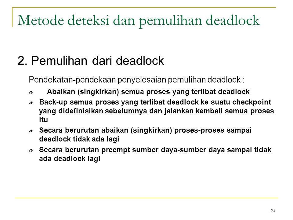 24 Metode deteksi dan pemulihan deadlock 2.