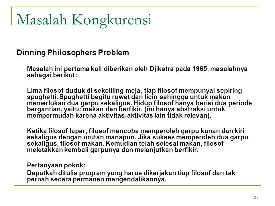 28 Masalah Kongkurensi Dinning Philosophers Problem Masalah ini pertama kali diberikan oleh Djikstra pada 1965, masalahnya sebagai berikut: Lima filosof duduk di sekeliling meja, tiap filosof mempunyai sepiring spaghetti.