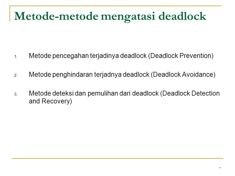 8 Metode pencegahan terjadinya deadlock Untuk mengatasi deadlock cara inilah yang paling aman, yaitu dengan sebelum adanya dan terjadinya deadlock kita telah melakukan upaya agar deadlock tidak terjadi.