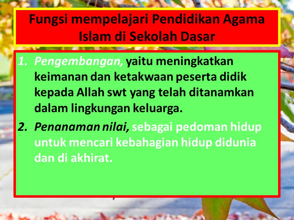 Fungsi mempelajari Pendidikan Agama Islam di Sekolah Dasar 1.Pengembangan, yaitu meningkatkan keimanan dan ketakwaan peserta didik kepada Allah swt ya