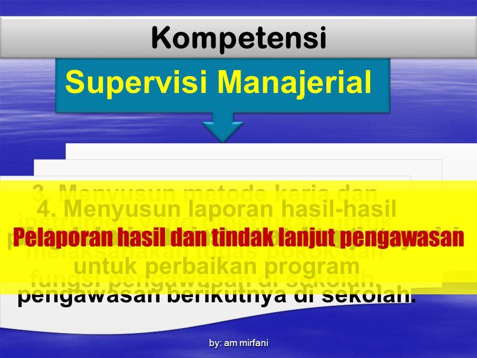 by: am mirfani Supervisi Manajerial Kompetensi 3. Menyusun metode kerja dan instrumen yang diperlukan untuk melaksanakan tugas pokok dan fungsi pengaw