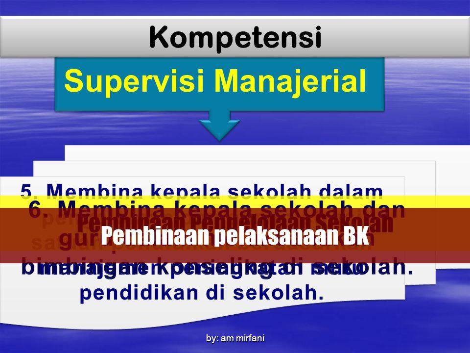 by: am mirfani Supervisi Manajerial Kompetensi 5. Membina kepala sekolah dalam pengelolaan dan administrasi satuan pendidikan berdasarkan manajemen pe