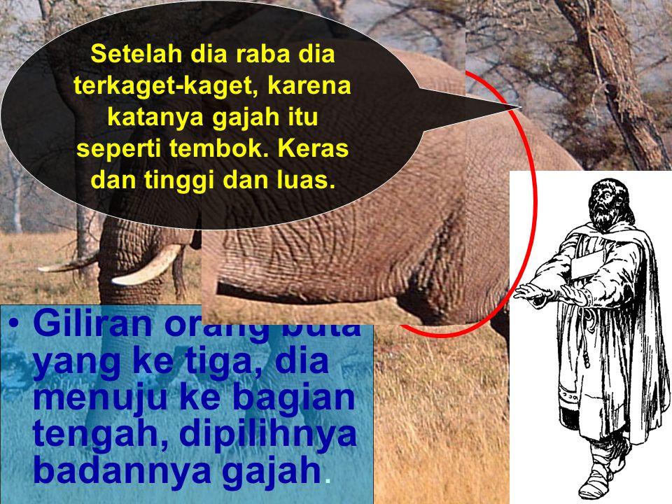 Terkahir orang buta ke empat, tanpa menyia- nyiakan waktu yang hanya satu menit, dia memilih bagian kaki gajah.