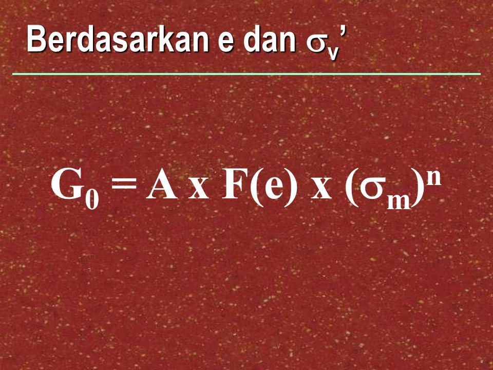 Berdasarkan e dan  v ' G 0 = A x F(e) x (  m ) n