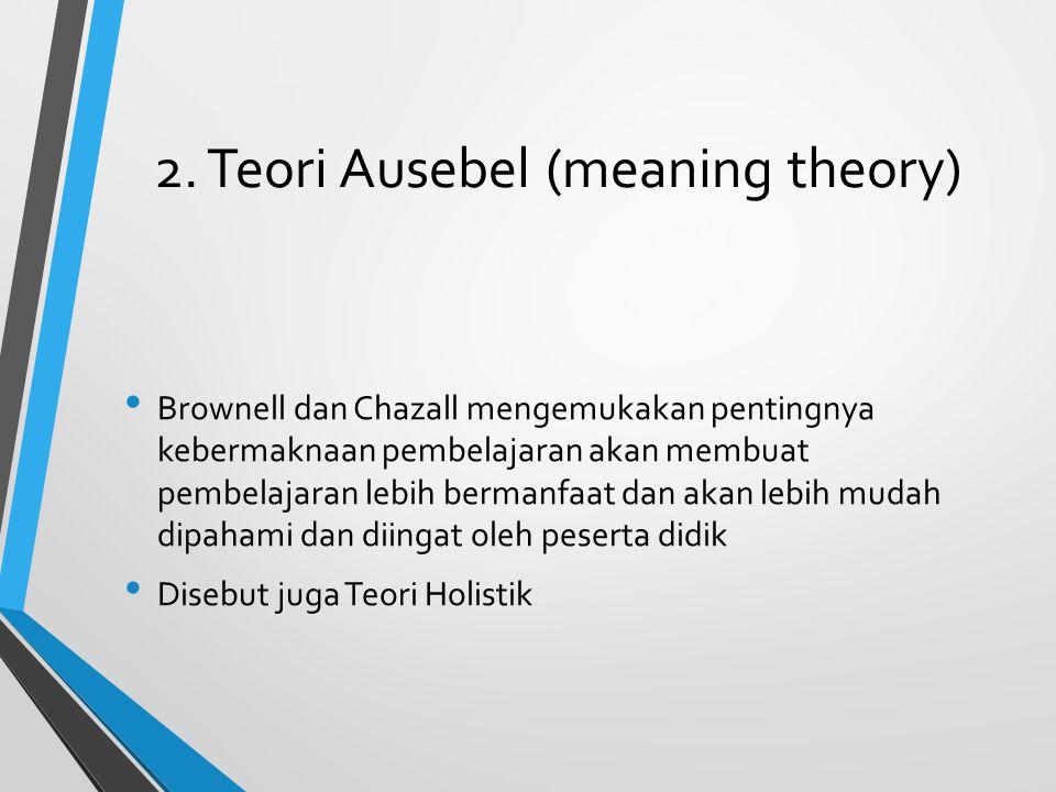 2. Teori Ausebel (meaning theory) Brownell dan Chazall mengemukakan pentingnya kebermaknaan pembelajaran akan membuat pembelajaran lebih bermanfaat da