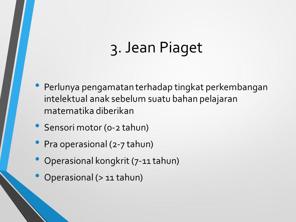 3. Jean Piaget Perlunya pengamatan terhadap tingkat perkembangan intelektual anak sebelum suatu bahan pelajaran matematika diberikan Sensori motor (0-