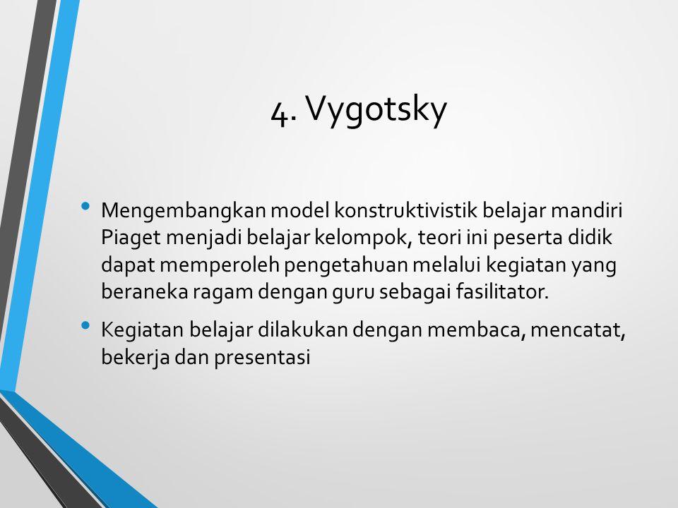 4. Vygotsky Mengembangkan model konstruktivistik belajar mandiri Piaget menjadi belajar kelompok, teori ini peserta didik dapat memperoleh pengetahuan