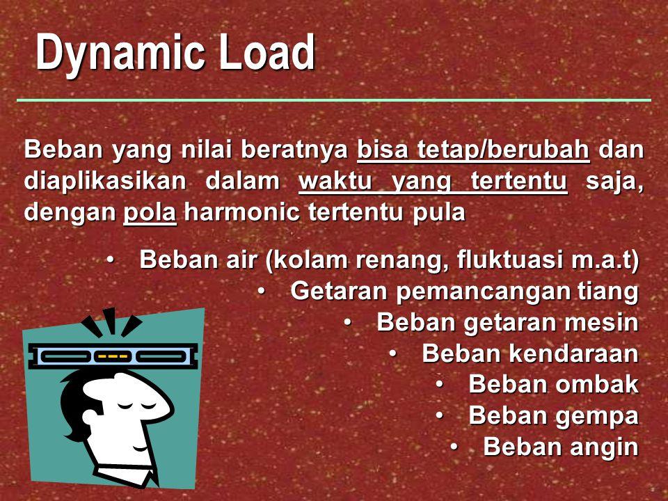 Dynamic Load Beban air (kolam renang, fluktuasi m.a.t)Beban air (kolam renang, fluktuasi m.a.t) Getaran pemancangan tiangGetaran pemancangan tiang Beb