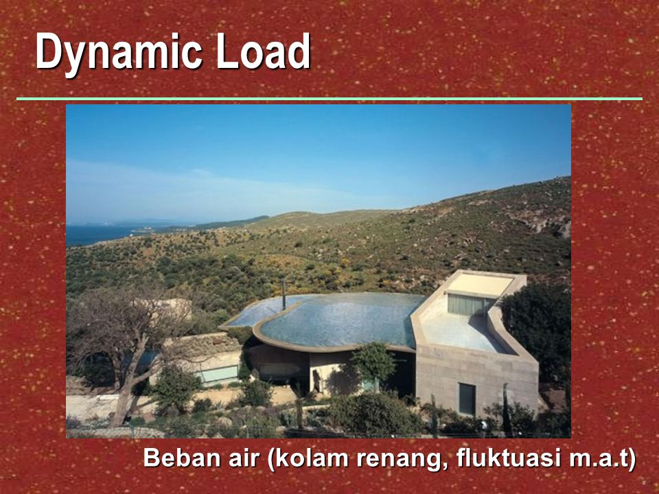 Dynamic Load Beban air (kolam renang, fluktuasi m.a.t)