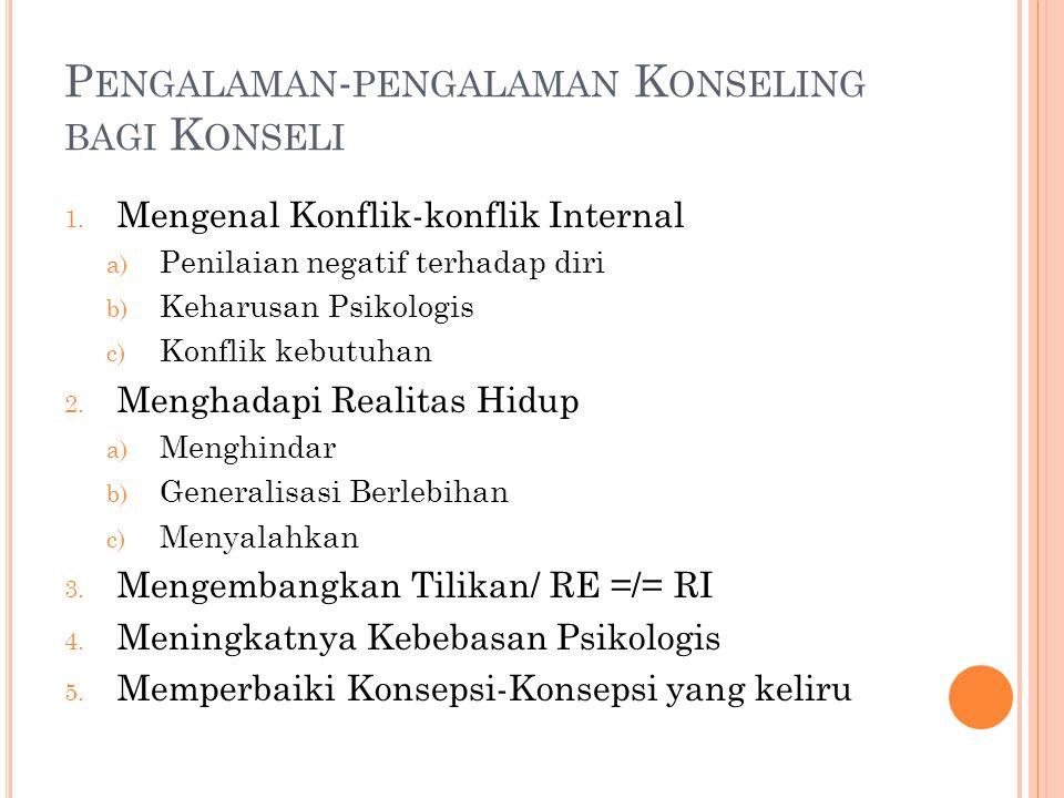 P ENGALAMAN - PENGALAMAN K ONSELING BAGI K ONSELI 1.