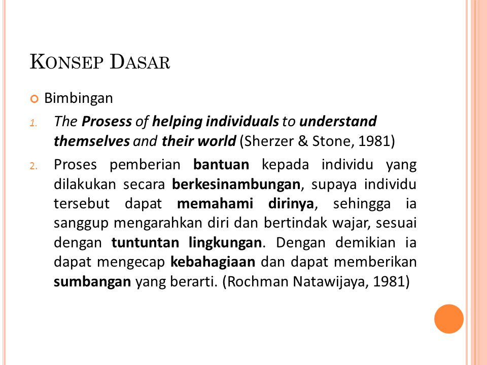 K ONSEP D ASAR Bimbingan 1. The Prosess of helping individuals to understand themselves and their world (Sherzer & Stone, 1981) 2. Proses pemberian ba