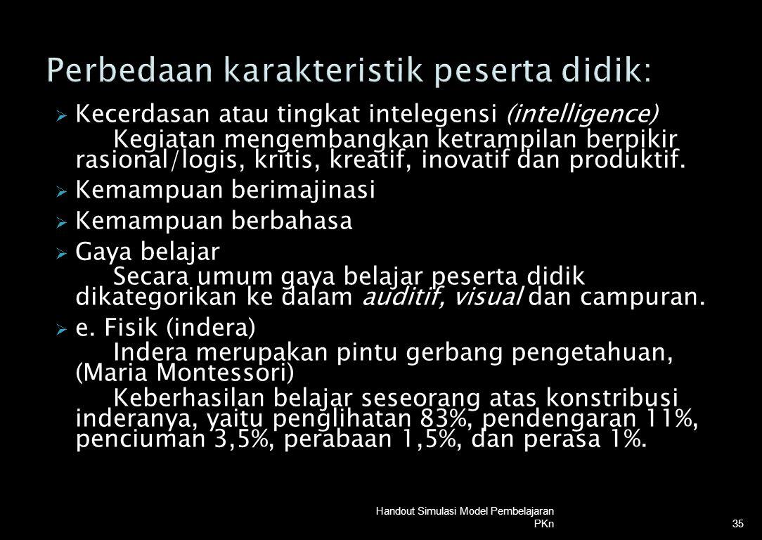 Kecerdasan atau tingkat intelegensi (intelligence) Kegiatan mengembangkan ketrampilan berpikir rasional/logis, kritis, kreatif, inovatif dan produkt
